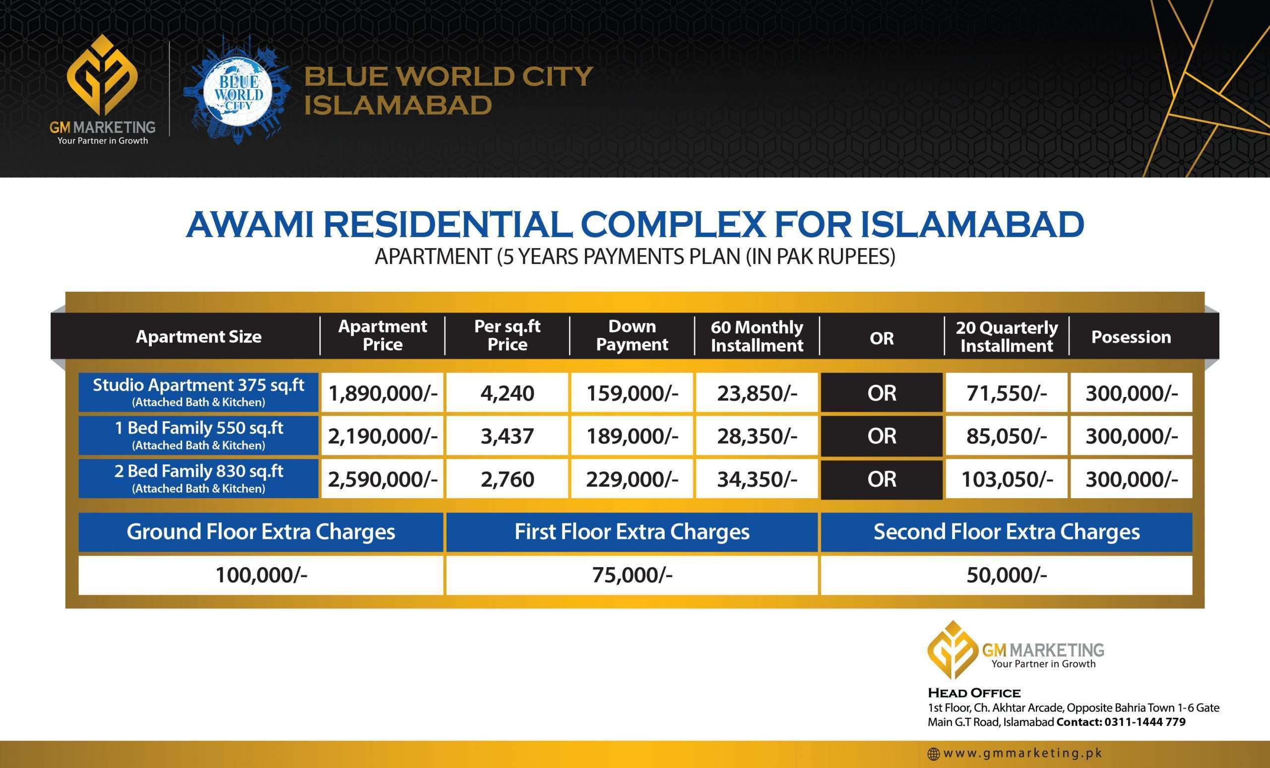 Awami Residential Complex Islamabad Payment Plan_GM Marketing