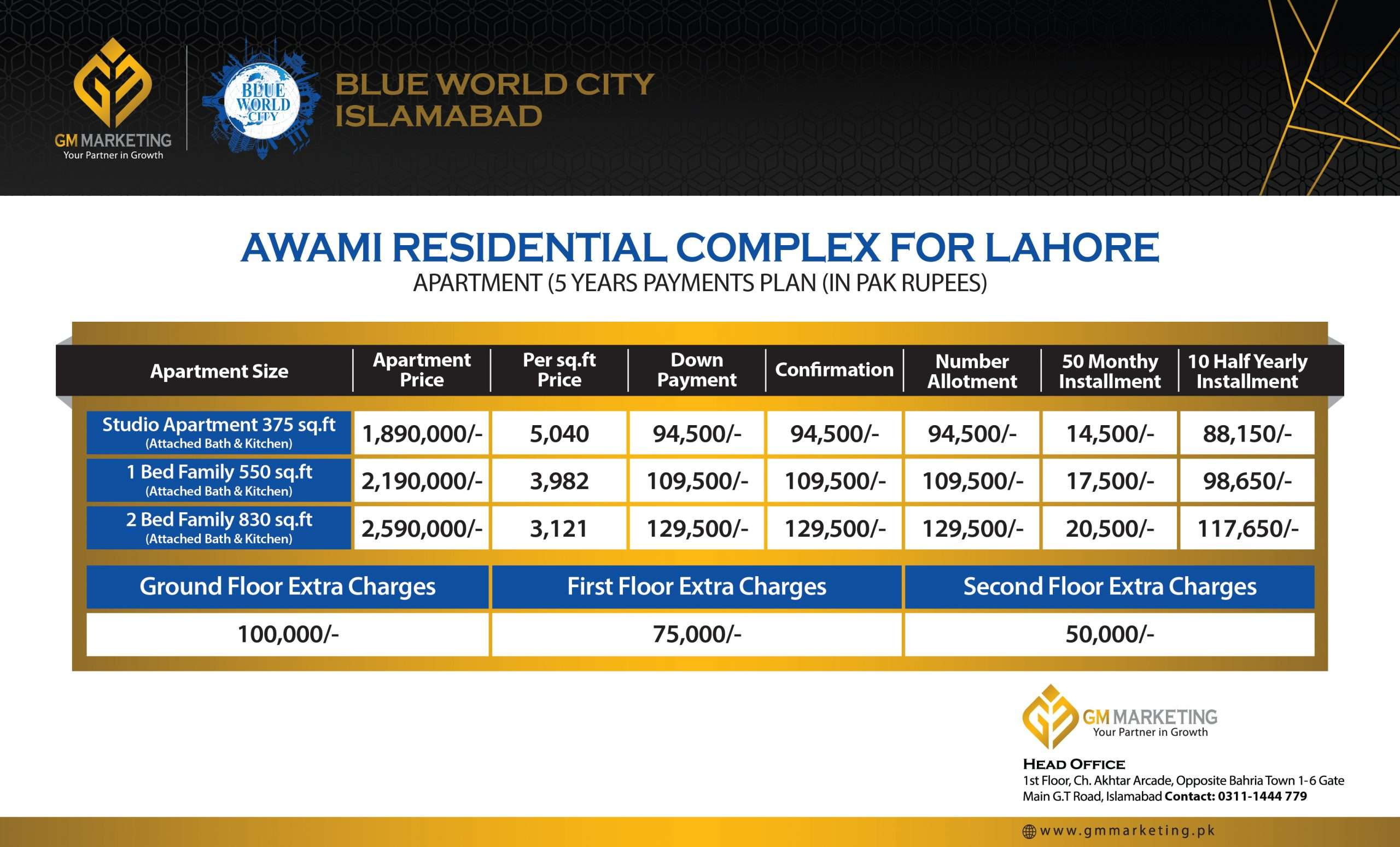 Awami Residential Complex Lahore Payment Plan_GM Marketing