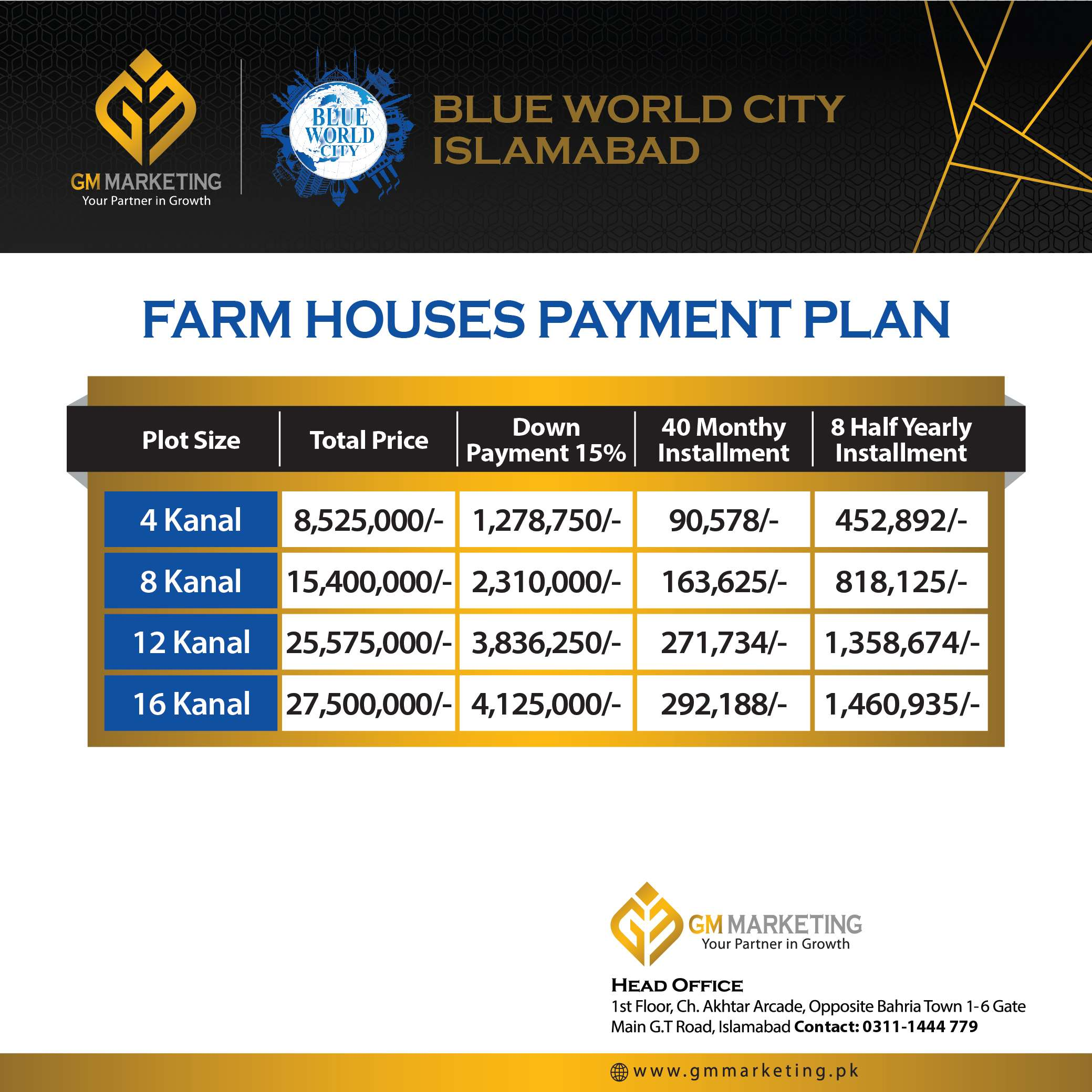 Blue World City Farm Houses Payment Plan_GM Marketing