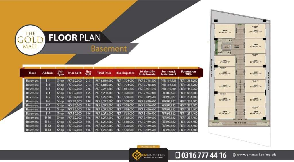 Payment Plan Basement - Gold Mall