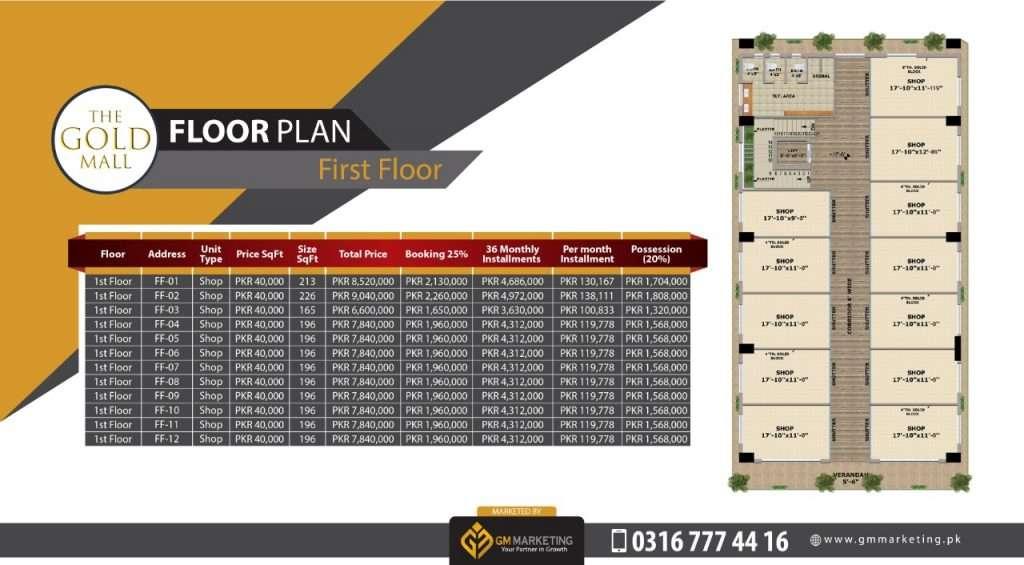 Payment Plan First Floor - Gold Mall
