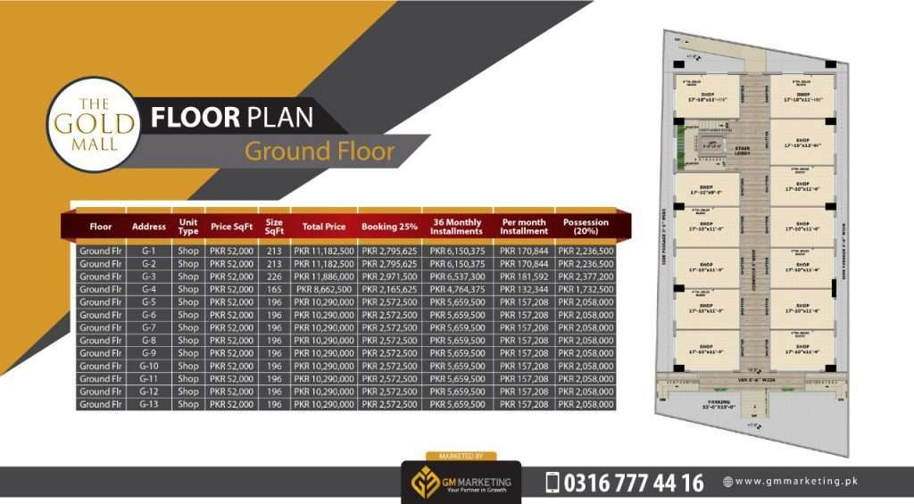 Payment Plan Ground Floor - Gold Mall